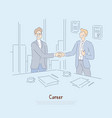 striking deal interview success signing vector image
