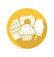 sweets flat design long shadow glyph icon vector image vector image