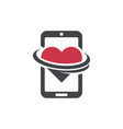 swoosh smart phone logo heart dating icon vector image