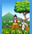 the rabbit plays magic on the tree stump vector image