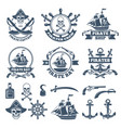 vintage nautical and pirates labels monochrome vector image