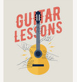 vintage styled guitar lessons poster vector image