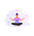 working and meditating at home cute woman sitting vector image vector image