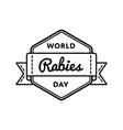 world rabies day greeting emblem vector image vector image