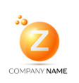 z letter splash orange dots and circle bubble vector image vector image