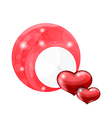 Valentines day bubble with red hearts vector image