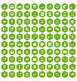 100 help desk icons hexagon green vector image