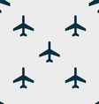 airplane icon sign Seamless pattern with geometric vector image vector image
