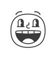 amazed smile fase black and white emoji eps 10 vector image