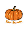 an of a cartoon pumpkin happy halloween hand vector image vector image