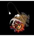 Angler fish with indian mask on a black background vector image vector image