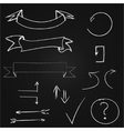 Arrows and banners set Hand drawn chalk on vector image