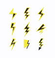 black and yellow thunder sign lightning bolt set vector image vector image