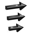 black straight arrows web 3d shiny icons vector image vector image