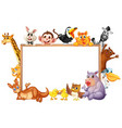 border template with wild animals with happy face vector image vector image