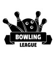 bowling league logo simple style vector image