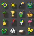 brazil summer set of flat icons vector image vector image