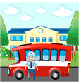 bus driver and red bus vector image vector image