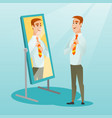 Business man looking himself in the mirror vector image