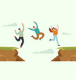 business people office workers team jump over rock vector image