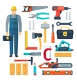 Carpentry Flat Color Icons Set vector image vector image