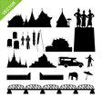 Chiang Mai symbol and landmark silhouettes vector image
