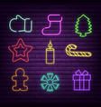 christmas neon signs for vector image vector image