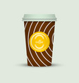 coffee cup in hipster low poly style with text vector image