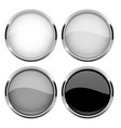 collection of glass buttons with chrome frame vector image vector image