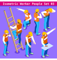 Construction 03 People Isometric vector image vector image