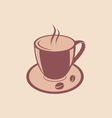 Cup of Aromatic Coffee and Beans on Saucer Vintage vector image vector image
