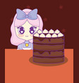 cute kawaii girl with cake birthday card vector image