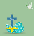 easter cross decorated egg and dove background vector image vector image