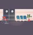 empty hospital corridor with armchairs and vector image vector image