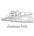 field and village vector image