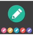Flat pencil icon colorful icon vector image