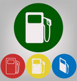 gas pump sign 4 white styles of icon at 4 vector image vector image