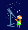 girl astronomer near telescope vector image