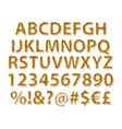 gold alphabetic fonts and numbers vector image vector image