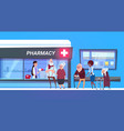 group of people standing in line to pharmacy store vector image vector image