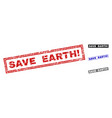 grunge save earth exclamation textured rectangle vector image vector image
