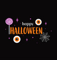 halloween card with lollipop and eyes on black vector image