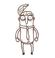 Hand Drawn Man with Open Brain vector image vector image
