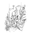 Hand made sketch of old street vector image vector image