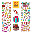 happy birthday stickers collection childish party vector image vector image
