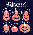 happy halloween white handwritten lettering vector image vector image