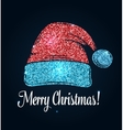 hat santa claus glitter design vector image vector image