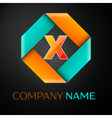 Letter X logo symbol in the colorful rhombus on vector image vector image