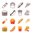 line and flat fastfood icons set vector image vector image