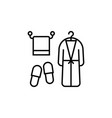 line icon of bath accessories towel bathrobe and vector image
